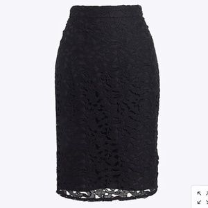 J. Crew Black eyelet lace over lay pencil skirt